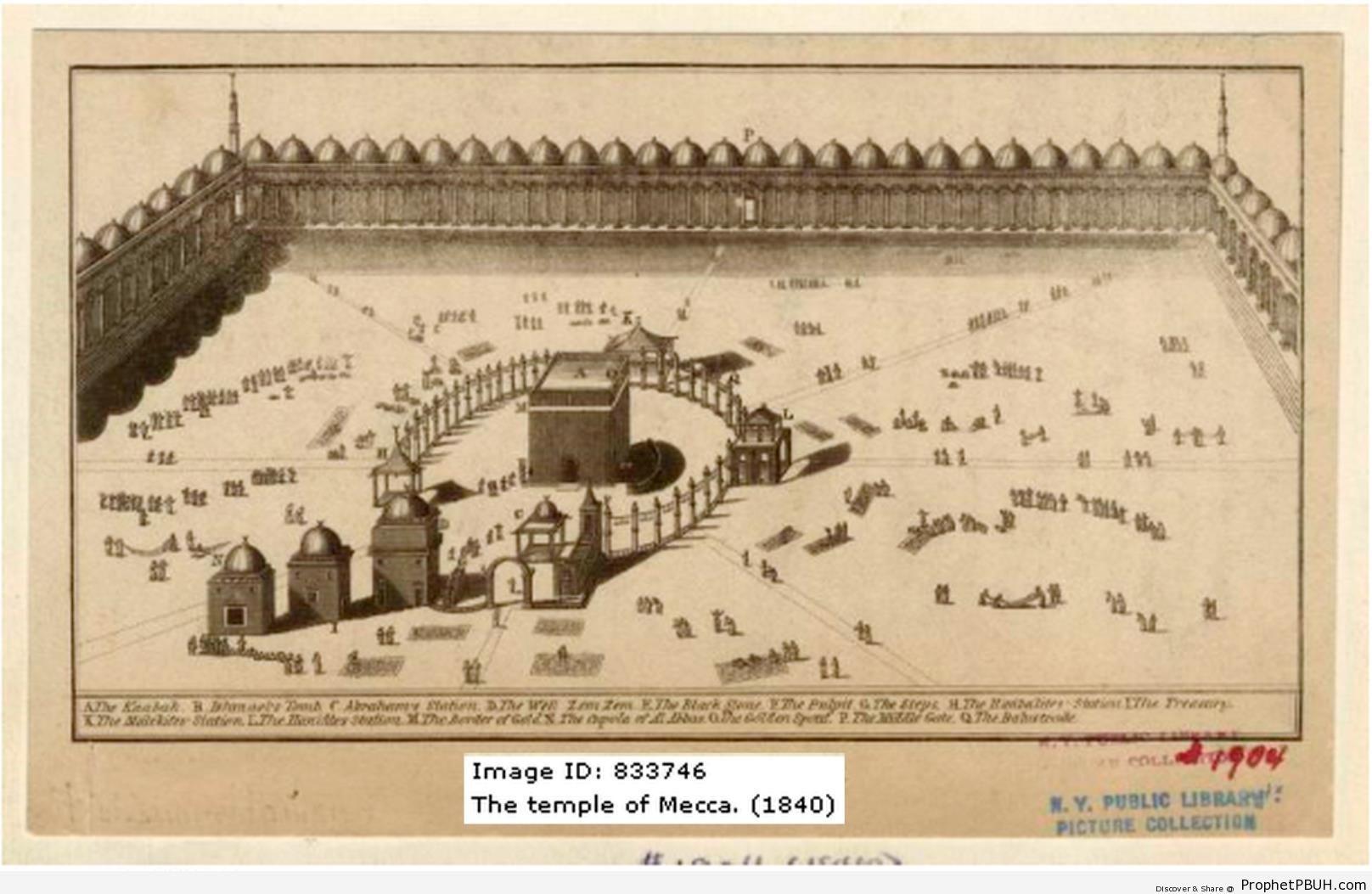 1840 Drawing of Masjid al-Haram - al-Masjid al-Haram in Makkah, Saudi Arabia -Picture