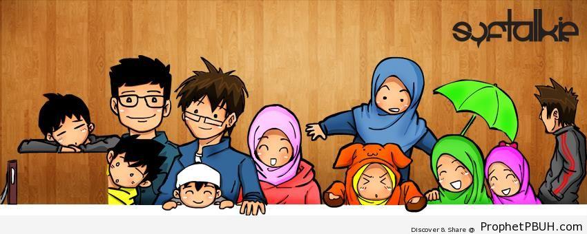 Anime Muslim Family - Drawings