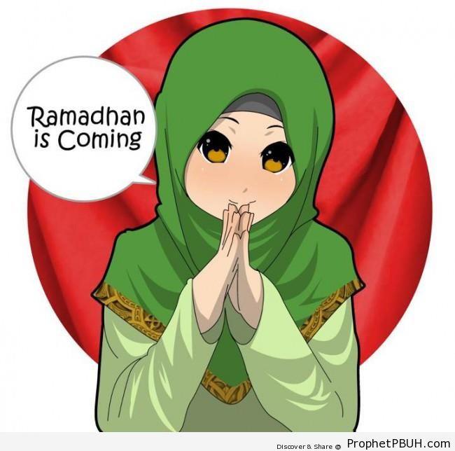 Anime Muslimah Saying -Ramadan is Coming- - Drawings