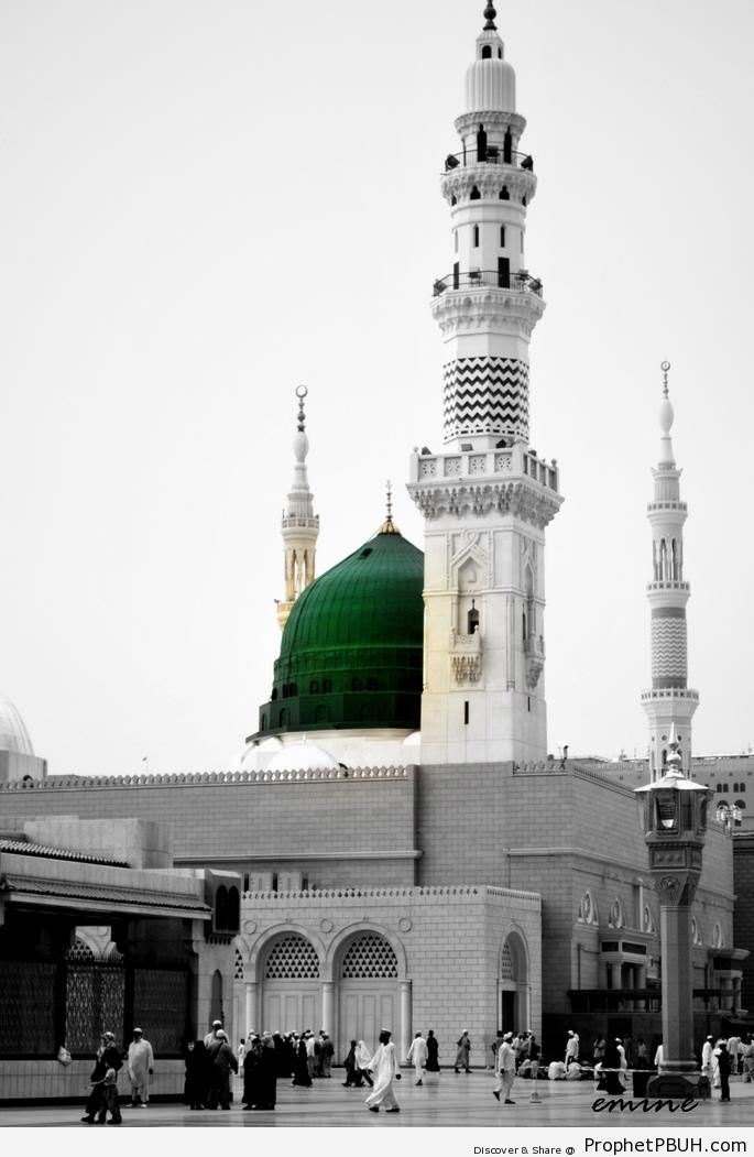 Black and White Shot of Masjid an-Nabawi with Selective Coloring of the Dome - Al-Masjid an-Nabawi (The Prophets Mosque) in Madinah, Saudi Arabia -Picture
