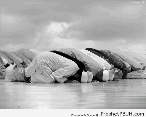 Black and White Shot of Muslim Men in Sujood Outdoors - Photos