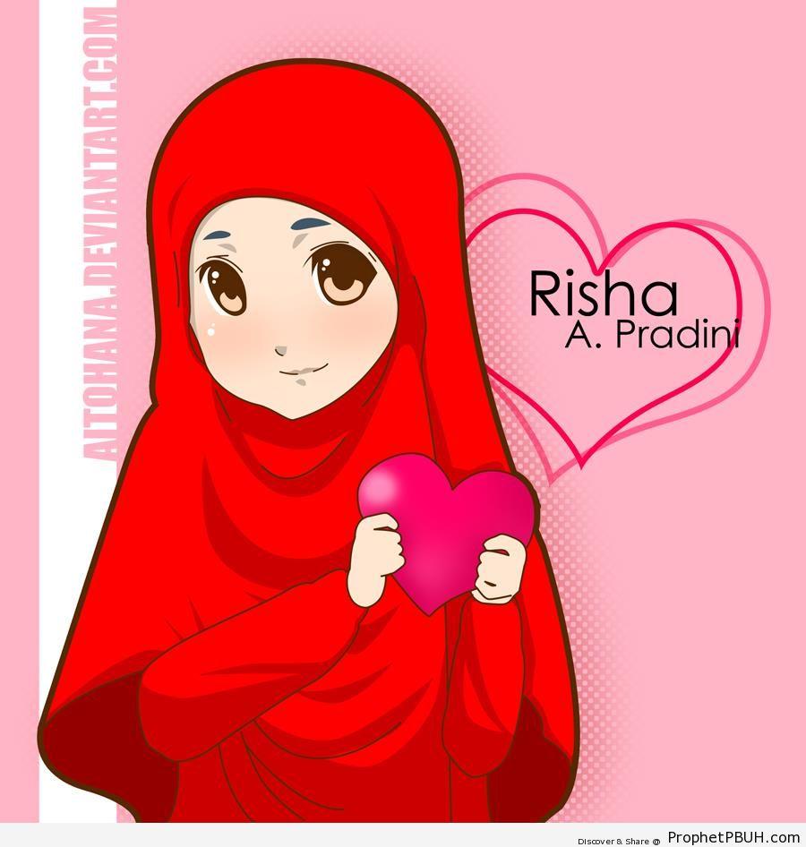 Blushing Girl in Bright Red Hijab - Drawings