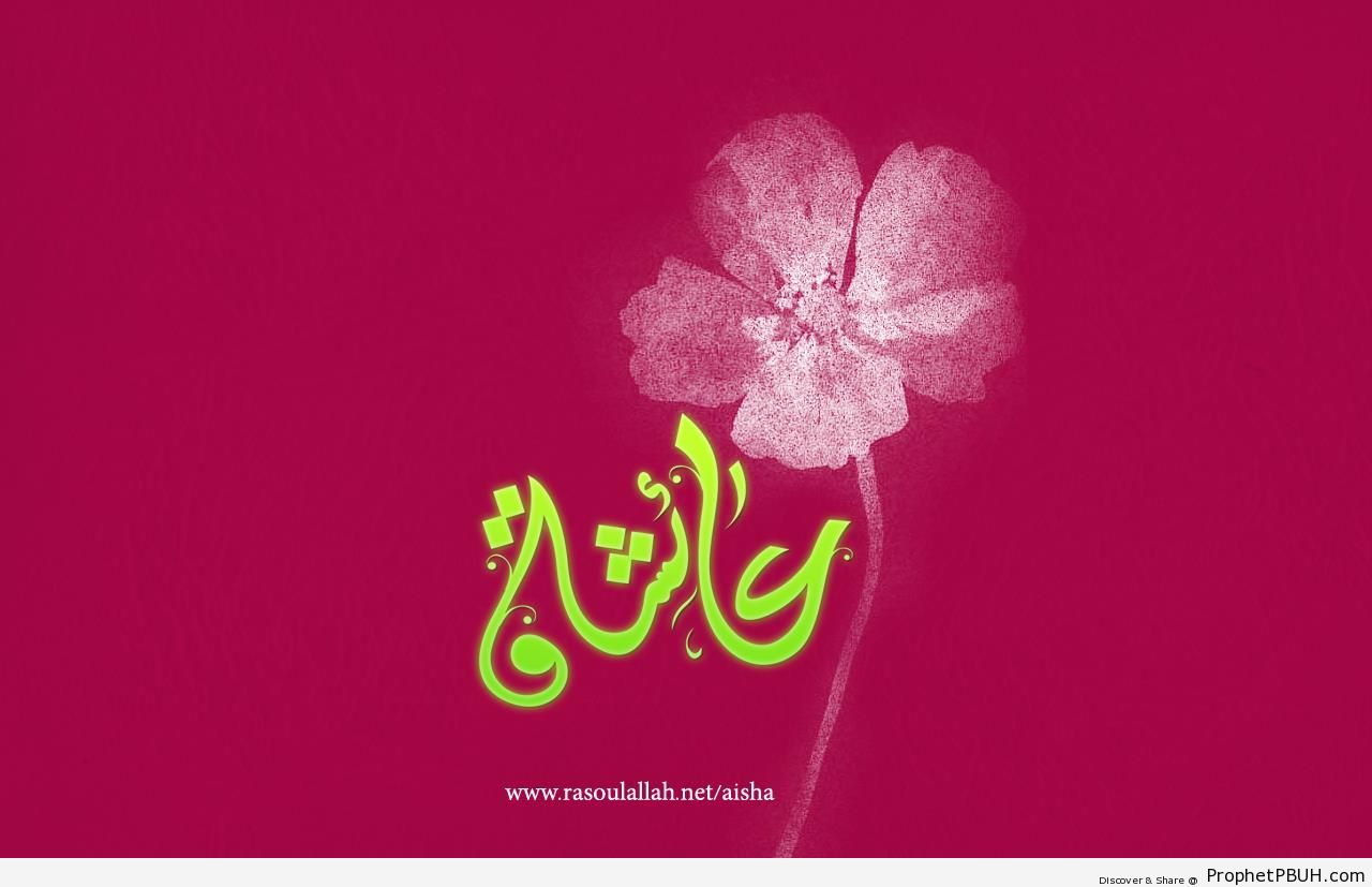 Calligraphy of -Aisha- (Name of the Wife of Prophet Muhammad ï·º) - Aisha Name Calligraphy and Typography