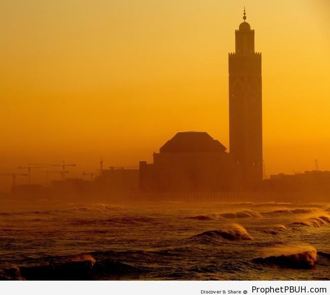 Casablanca Mosque & Sea Waves at Sunrise - Casablanca, Morocco