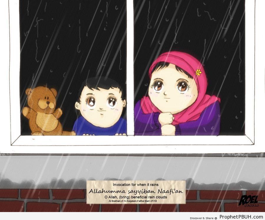 Children Watching Rain & Relevant Prayer - Drawings