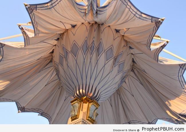 Close Up of a Shade Umbrella at the Prophet-s Mosque ï·º (Madinah, Saudi Arabia) - Al-Masjid an-Nabawi (The Prophets Mosque) in Madinah, Saudi Arabia