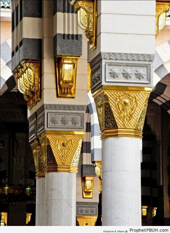 Columns at Masjid an-Nabawi (Mosque of the Prophet ï·º) in Madinah, Saudi Arabia - Al-Masjid an-Nabawi (The Prophets Mosque) in Madinah, Saudi Arabia