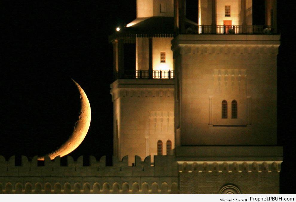 Crescent Moon Behind King Hussein Bin Talal Mosque in Amman, Jordan (Ramadan 2009) - Amman, Jordan -Picture