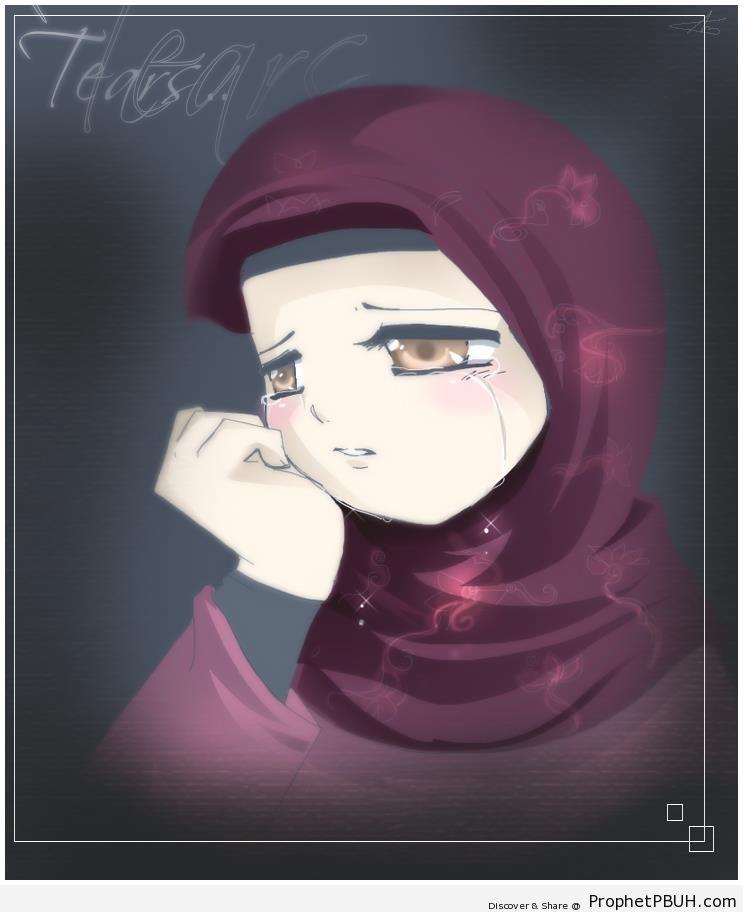 Crying Muslimah - Drawings