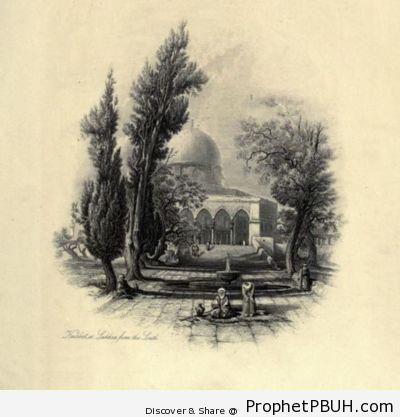Dome of the Rock in 1875 (Drawing) - Al-Quds (Jerusalem), Palestine