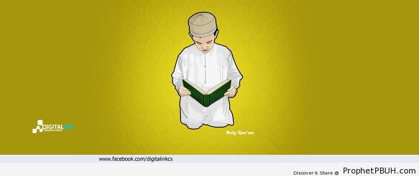 Drawing of Boy Reading Quran - Drawings