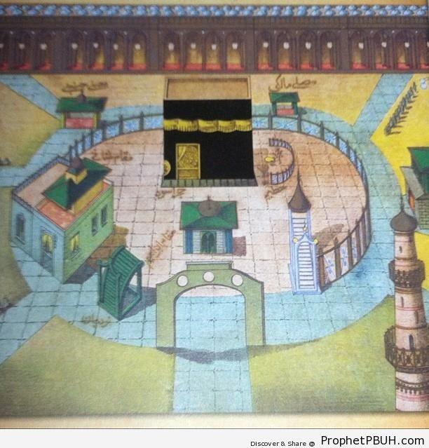 Drawing of Masjid al-Haram - al-Masjid al-Haram in Makkah, Saudi Arabia