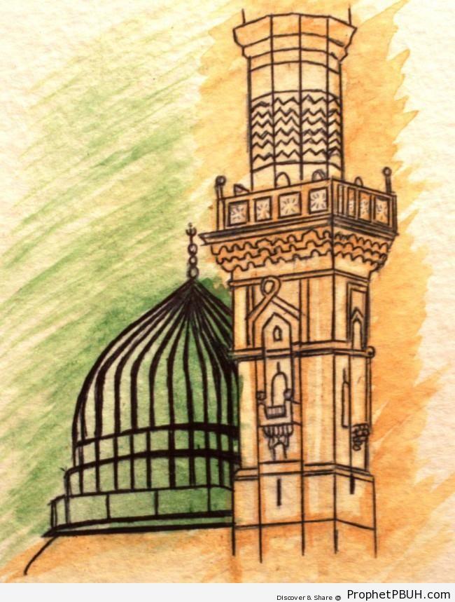Drawing of al-Masjid an-Nabawi (The Prophet-s Mosque) in Madinah, Saudi Arabia - Al-Masjid an-Nabawi (The Prophets Mosque) in Madinah, Saudi Arabia