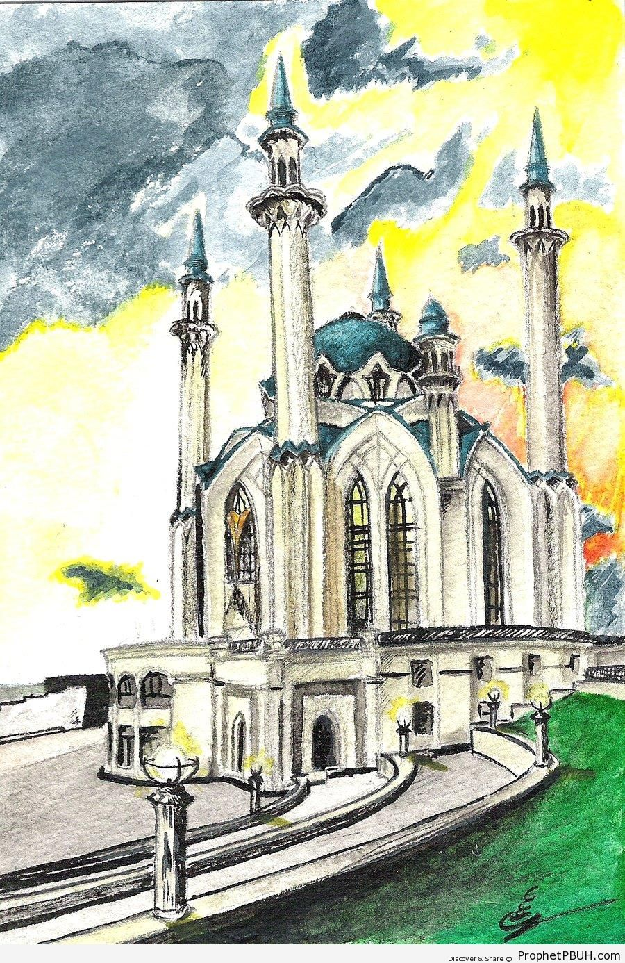 Drawing of the Qolsharif Mosque in Kazan, Tatarstan - Drawings