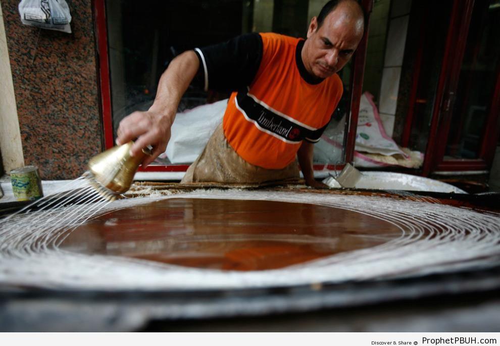 Egyptian Man Makes Dessert in Cairo, Egypt (Ramadan 2009) - Cairo, Egypt