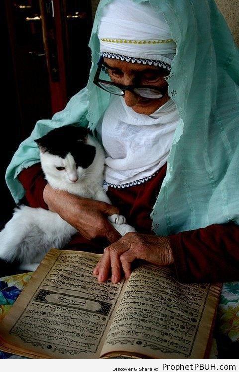 Elderly Muslim Lady Reading Quran - Mushaf Photos (Books of Quran)