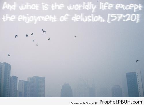 Enjoyment of Delusion (Surat al-Hadid; Quran 57-20) - Islamic Quotes About Dunya (Worldly Life)