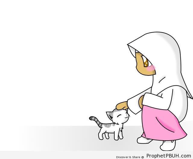 Girl Petting Cat - Drawings