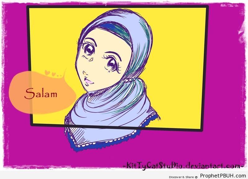 Girl Saying Salam - Drawings