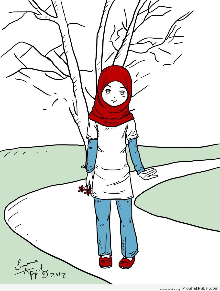 Girl in Red Hijab - Drawings