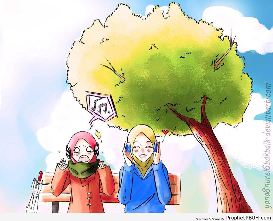 Girls on Bench With Headphones - Drawings