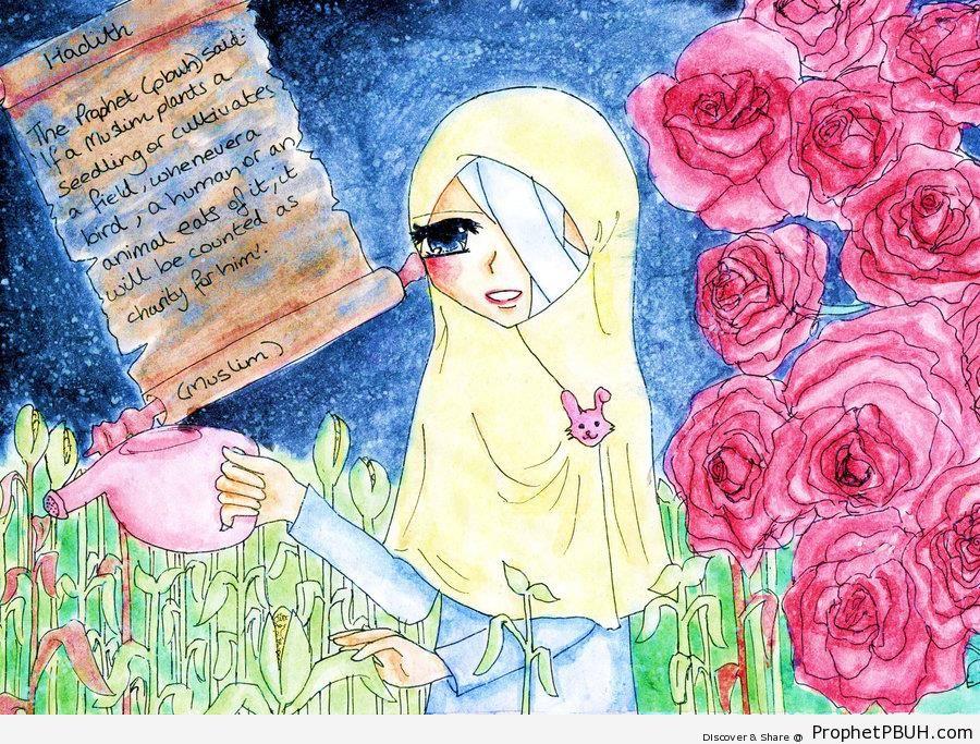 Hadith on Drawing of Hijabi Watering Plants - Drawings