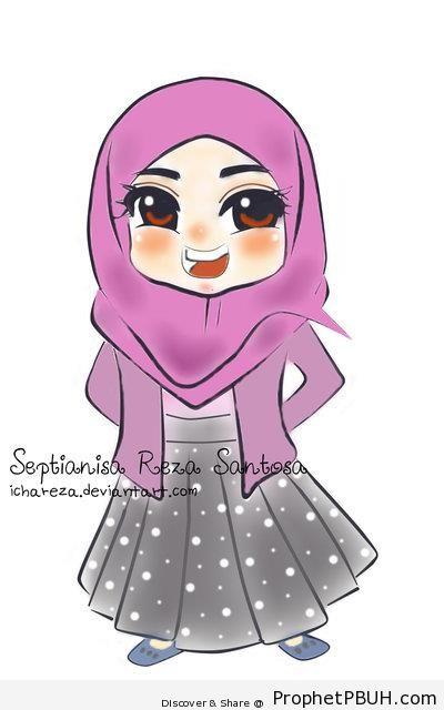 Happy Chibi Girl - Chibi Drawings (Cute Muslim Characters)