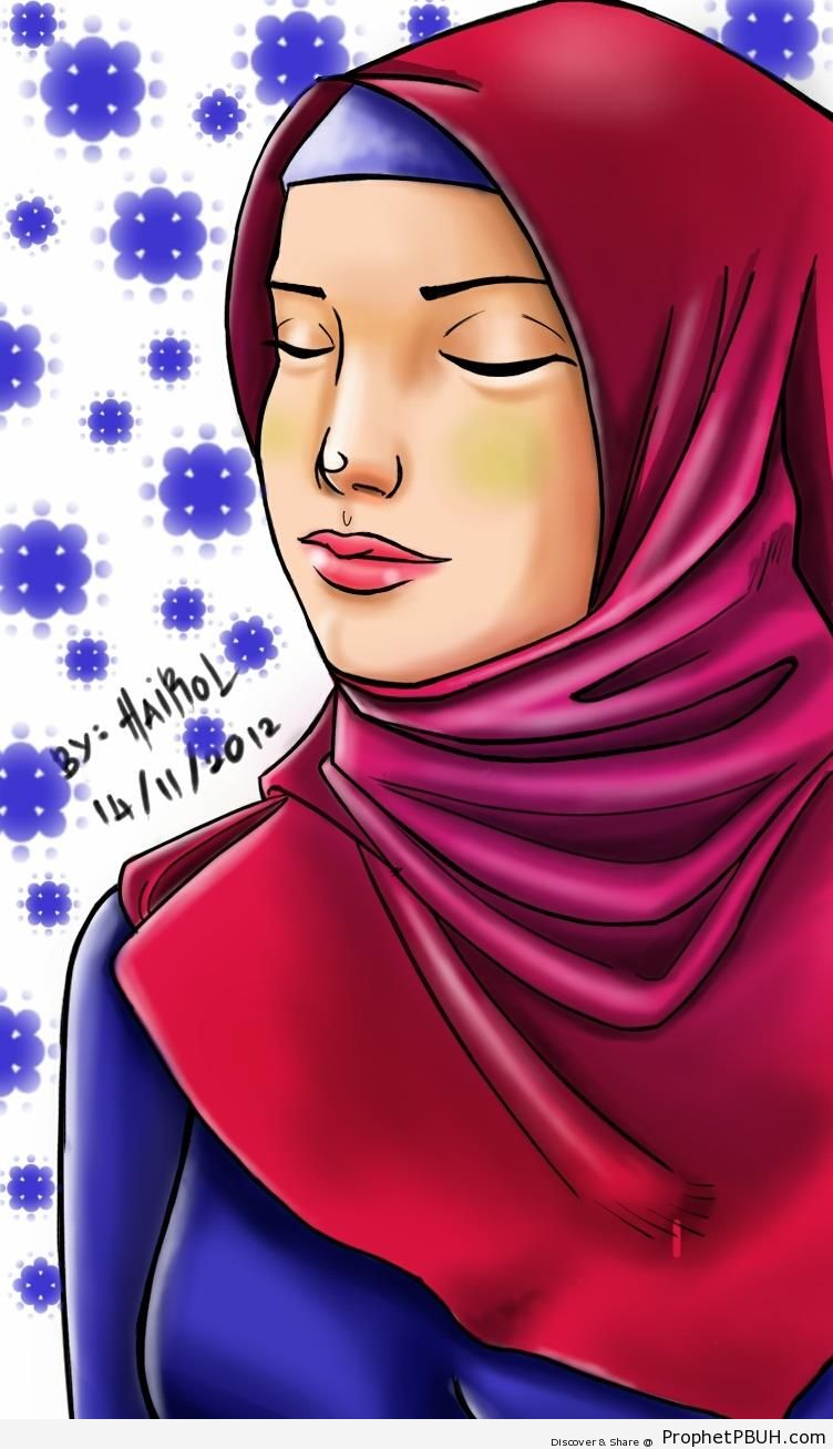 Hijabi Lady With Closed Eyes - Drawings