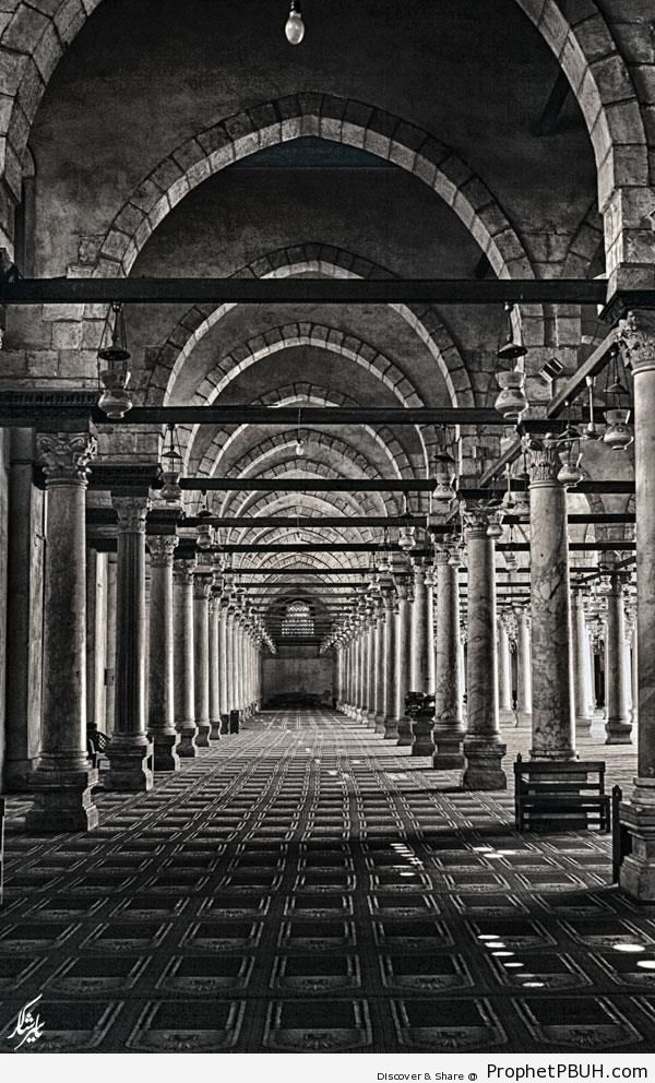 Inside Amr ibn al-As Mosque in Cairo, Egypt - Amr ibn al-As Mosque in Cairo, Egypt