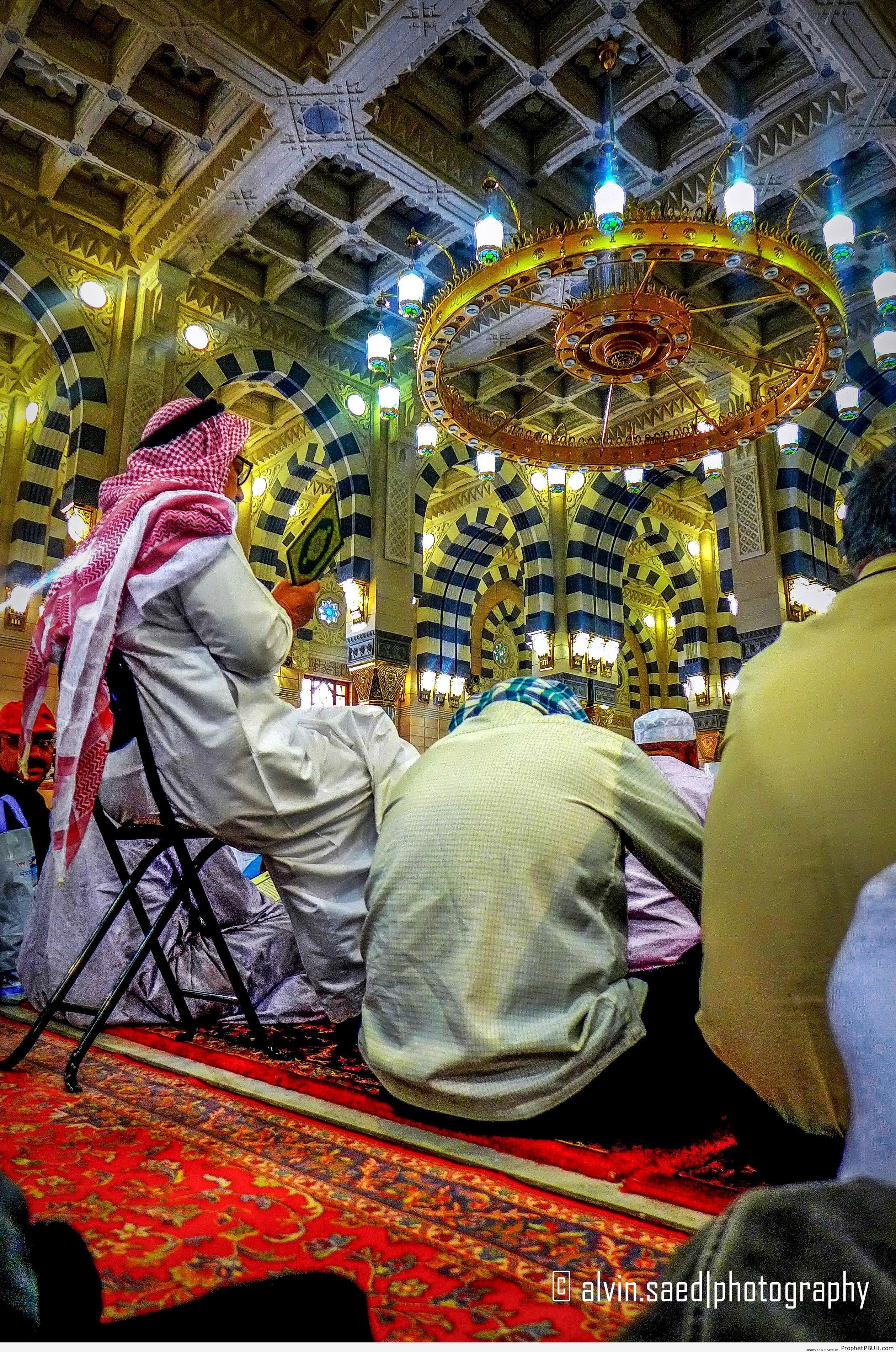 Inside al-Masjid an-Nabawi in Madinah, Saudi Arabia - Al-Masjid an-Nabawi (The Prophets Mosque) in Madinah, Saudi Arabia -Picture