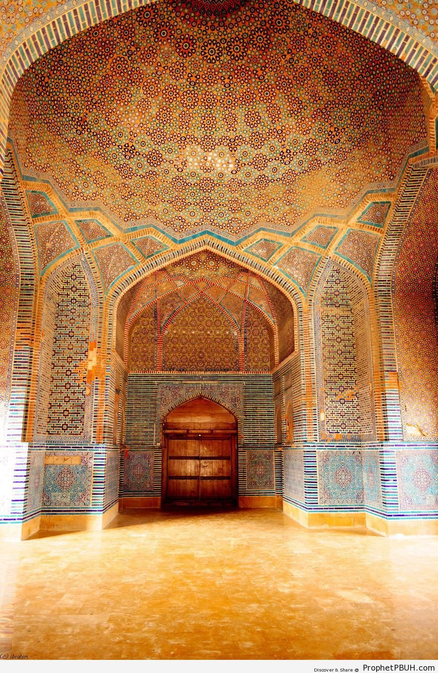Islamic Decorative Tiles at Shah Jahan Mosque in Thatta, Pakistan - Islamic Architecture -Picture
