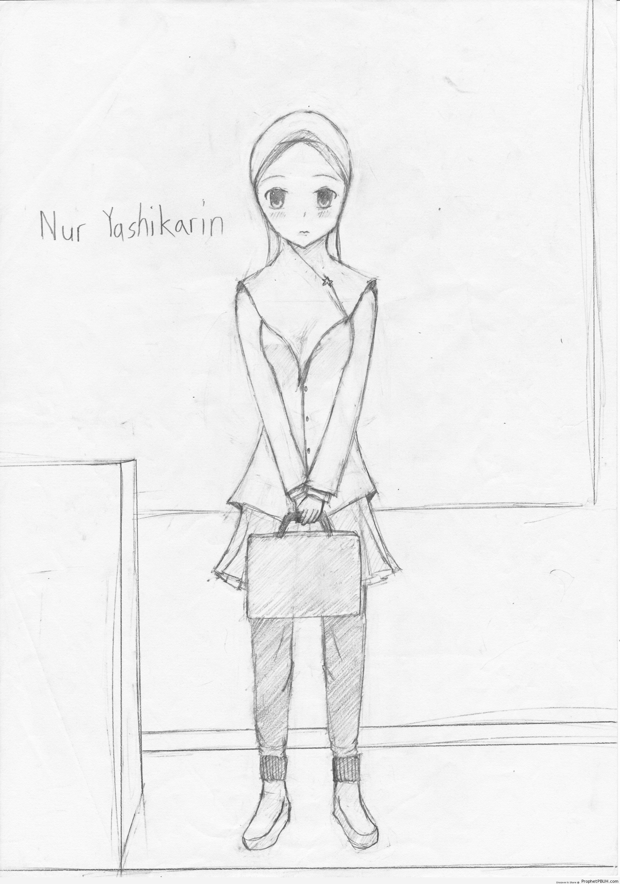 Japan Muslim Schoolgirl Drawing - Drawings