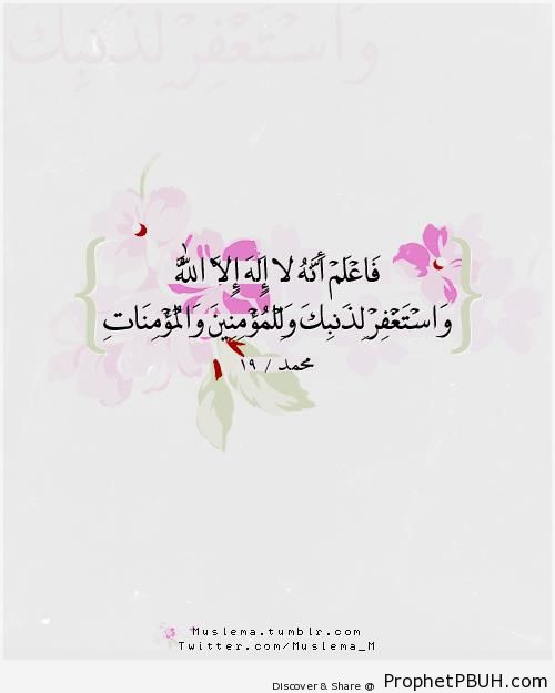 Know, therefore, that there is no god but Allah - Quran 47-19