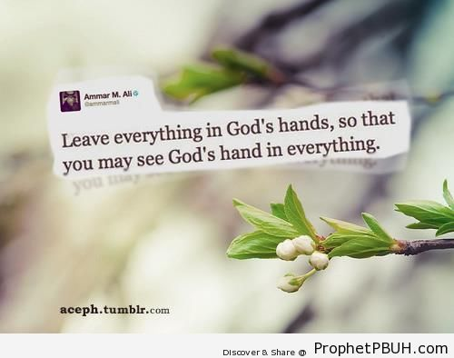 Leave everything in God-s hands - Islamic Quotes About Tawakkul (Complete Reliance Upon Allah)