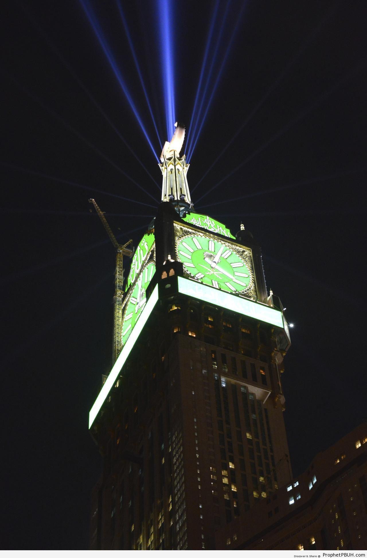Light Beams Shooting From Top of Makkah Clock Tower - Makkah (Mecca), Saudi Arabia