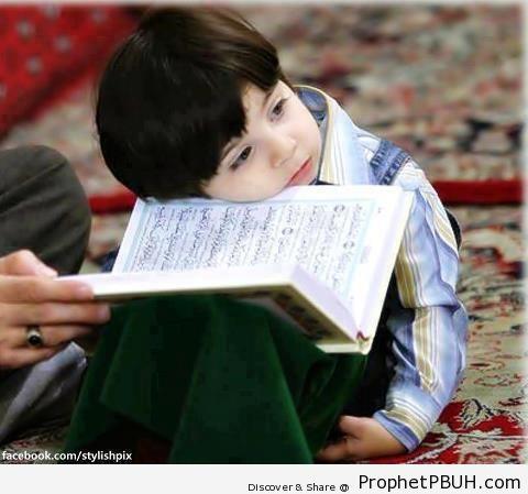 Little Boy Leaning on Mushaf - Mushaf Photos (Books of Quran)