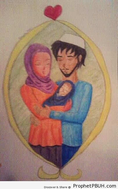 Loving Muslim Family - Drawings