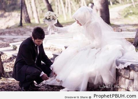 Man Tying His Wife-s Shoelace - Muslimah Photos (Girls and Women & Hijab Photos)
