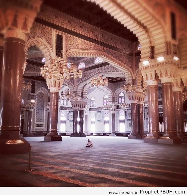 Man at the Mosque - Columns and Pillars