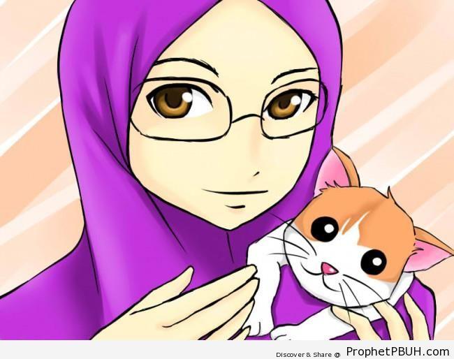 Manga Hijabi in Glasses & Pet Cat - Drawings