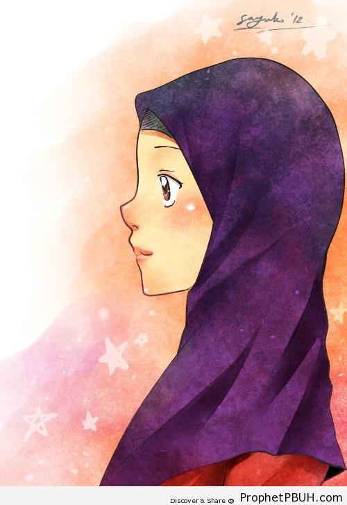 Manga Muslimah Profile Drawing - Drawings