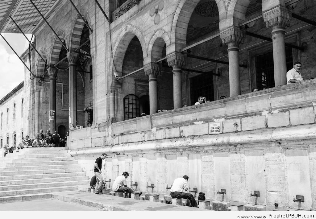Men Making Wudu at Istanbul-s Yeni Camii (New Mosque) - Islamic Architecture -Picture