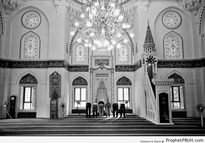 Men Praying at the Tokyo Camii (Mosque of Tokyo) in Shibuya, Tokyo, Japan - Islamic Architecture -Picture