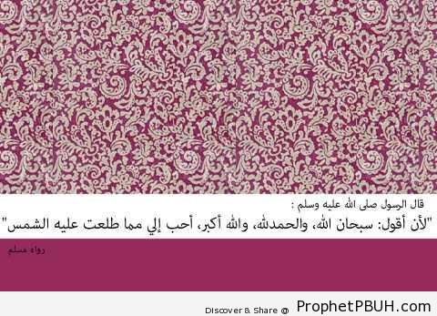 More Beloved to Me Than Everything the Sun Shines Upon (Prophet Muhammad ï·º Quote) - Hadith
