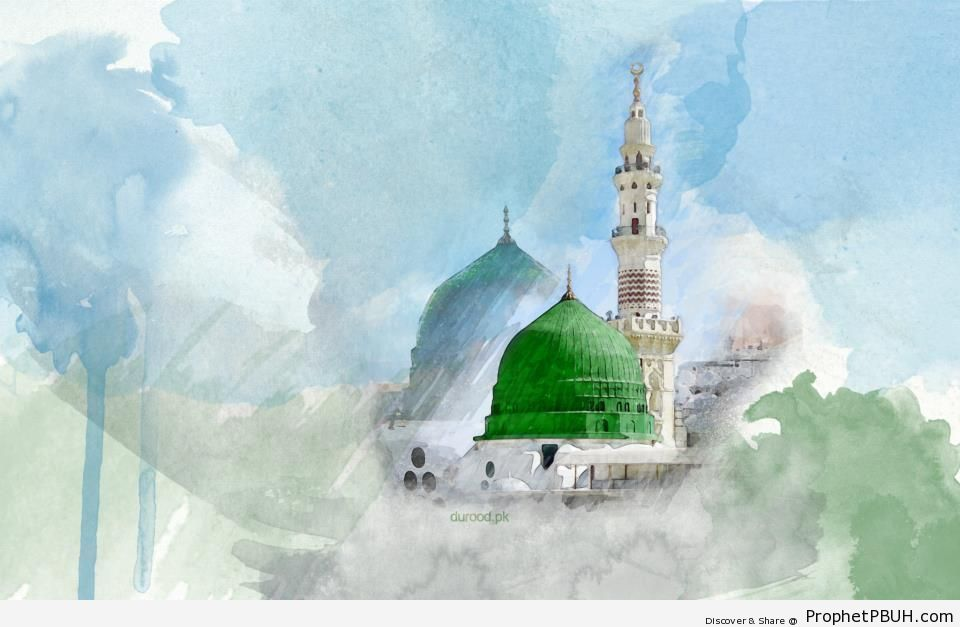Mosque of the Prophet (Drawing) - Al-Masjid an-Nabawi (The Prophets Mosque) in Madinah, Saudi Arabia -Picture