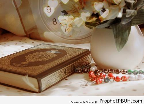 Mushaf and Prayer Beads on White Cloth - Mushaf Photos (Books of Quran)