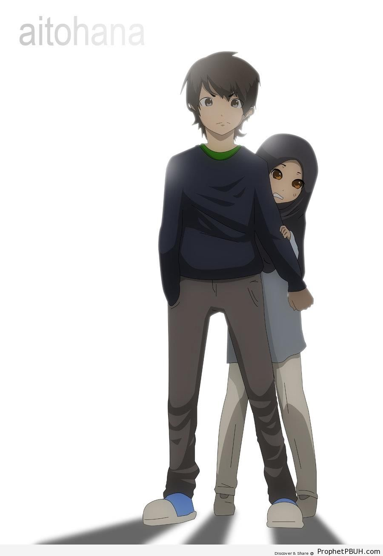 Muslim Boy Protecting His Sister - Drawings