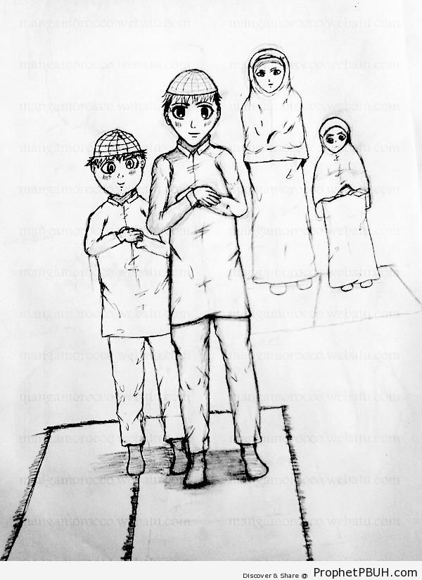 Muslim Family (Manga Drawing) - Drawings