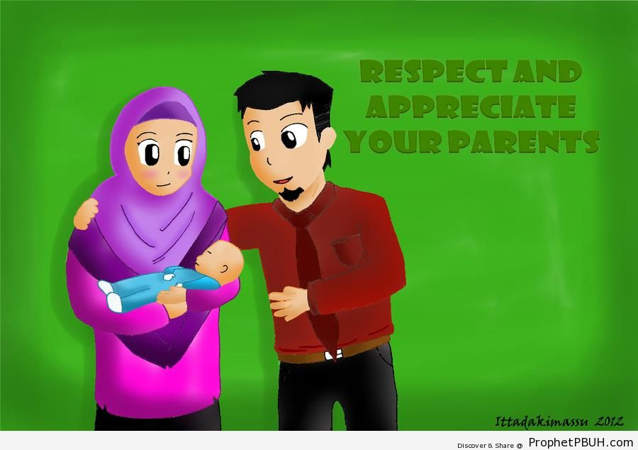 Muslim Family (Parents and Little Boy) - Drawings