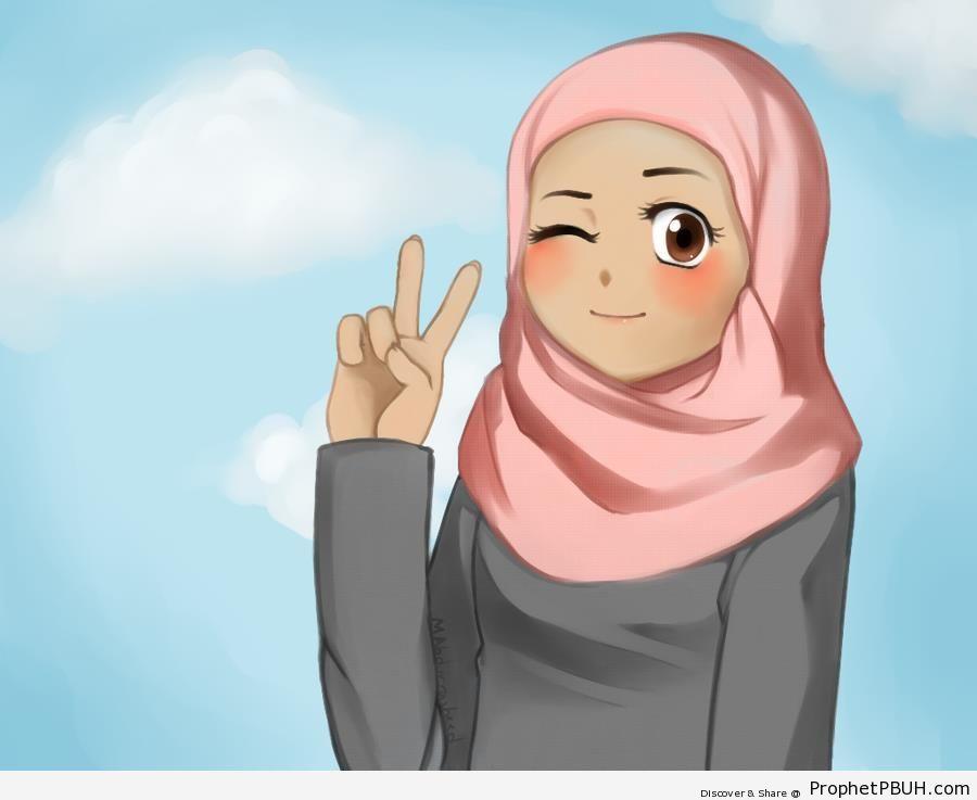 Muslim Girl Making V Sign - Drawings